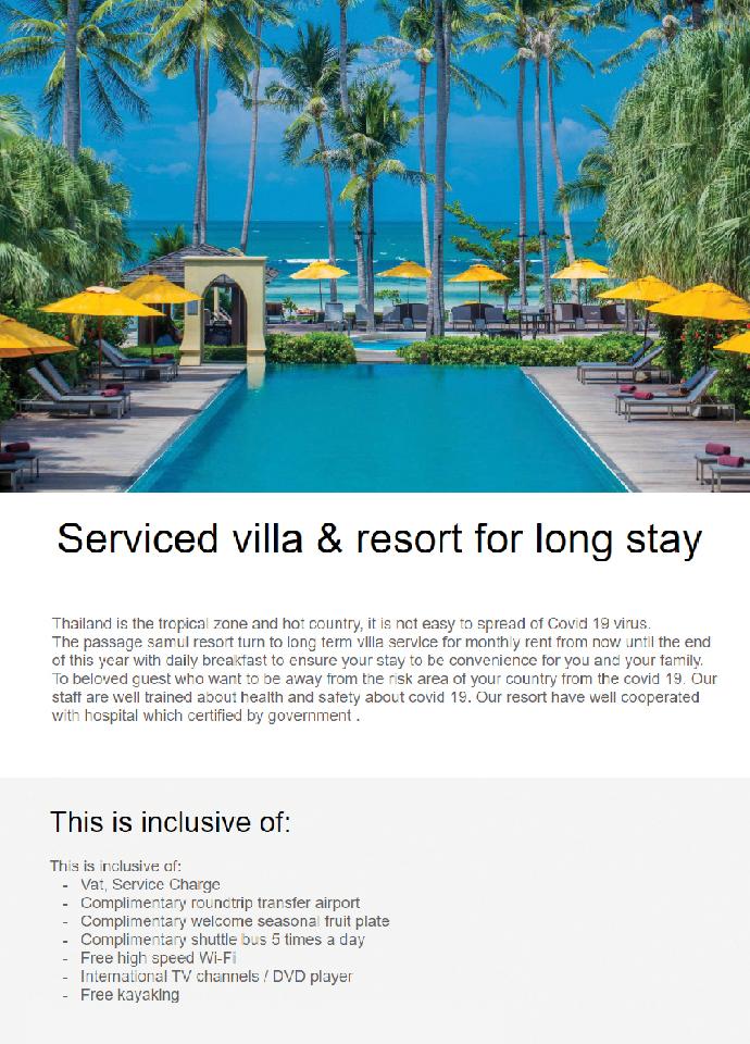 Serviced villa & resort for long stay